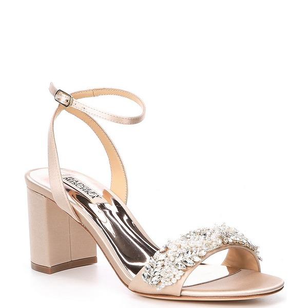 バッジェリーミシュカ レディース サンダル シューズ Clara Jewel Embellished Satin Dress Sandals Nude