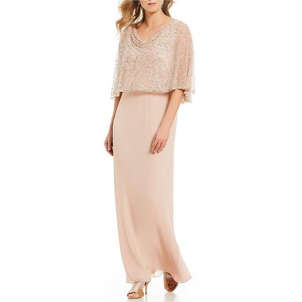 ジェイカラ レディース ワンピース トップス Petite Size Sequin Popover Chiffon Gown Blush/Silver