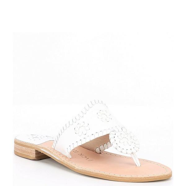 ジャックロジャース レディース サンダル シューズ Jacks Leather Flat Sandals White