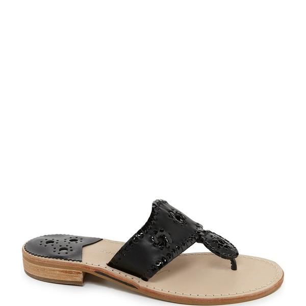 ジャックロジャース レディース サンダル シューズ Palm Beach Leather Whipstitched Sandals Black
