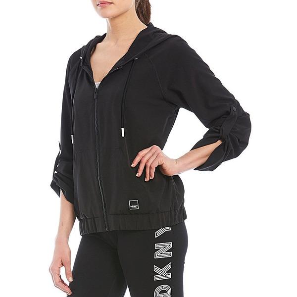 ダナ キャラン ニューヨーク レディース ジャケット&ブルゾン アウター Sport Roll Cuff Zip Hoodie Jacket Black/Black