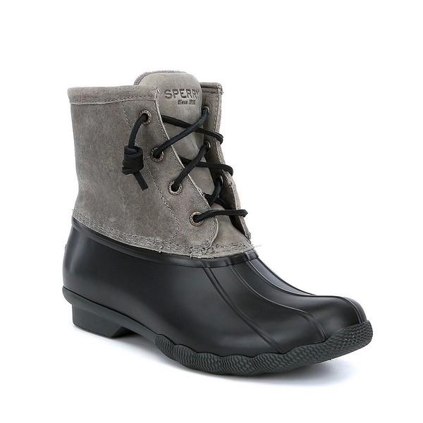 スペリー レディース ブーツ&レインブーツ シューズ Women's Saltwater Waterproof Winter Duck Rain Boots Black/Grey