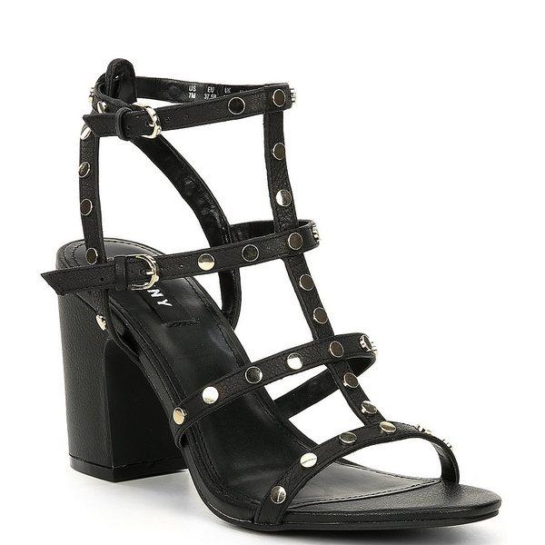 ダナ キャラン ニューヨーク レディース サンダル シューズ Hanz Studded Leather Block Heel Sandals Black