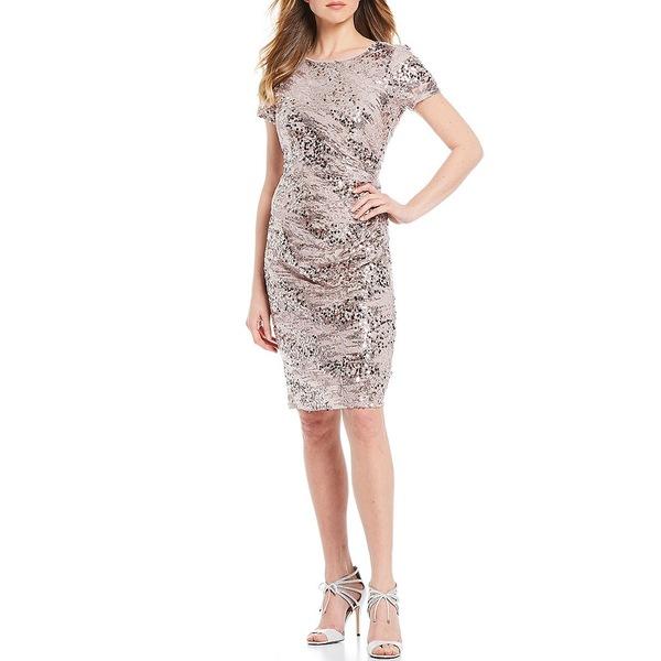 マリーナ レディース ワンピース トップス Sequin Lace Ruched Detail Cocktail Dress Rose