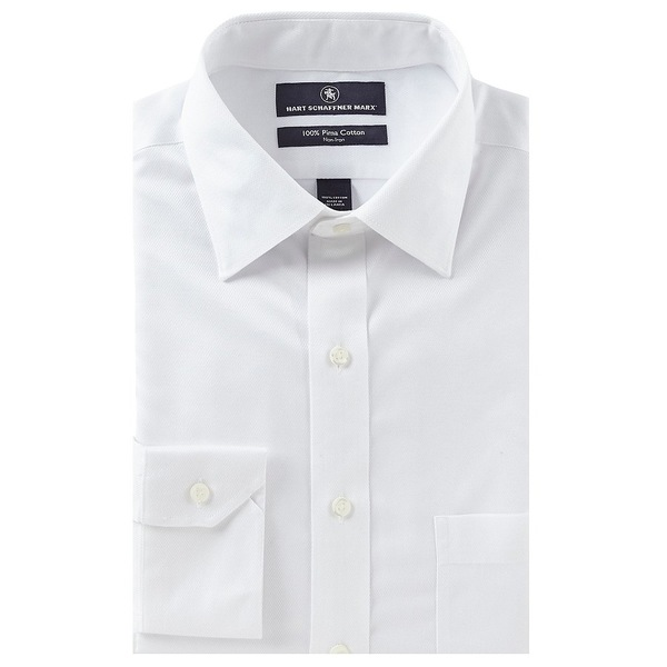 ハートシャファネールマークス メンズ シャツ トップス Non-Iron Classic Fit Spread Collar Solid Dress Shirt White