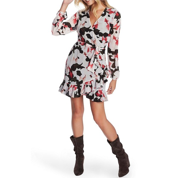 ワンステート レディース ワンピース トップス Floral Print Ruffle Wrap Dress Rich Black