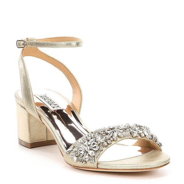 バッジェリーミシュカ レディース サンダル シューズ Ivanna Metallic Leather Block Heel Dress Sandals Platino