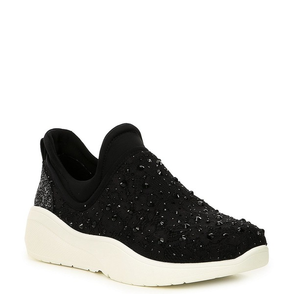 アントニオメラニー レディース スニーカー シューズ Jaxtyn Hotfix Lace and Jewel Embellished Sneakers Black