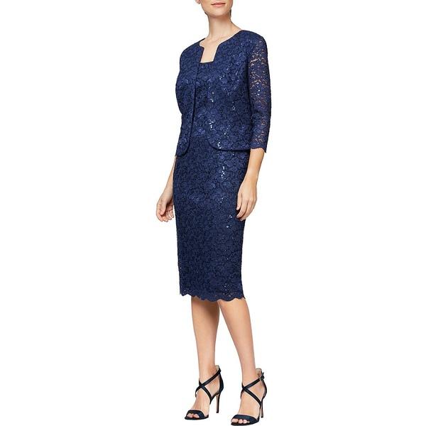 アレックスイブニングス レディース ワンピース トップス Petite Size Sequin Lace Scalloped 2-Piece Jacket Dress Navy