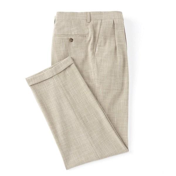 ラルフローレン メンズ カジュアルパンツ ボトムス Solid Relaxed Fit Pleated Linen Look Dress Pants Tan