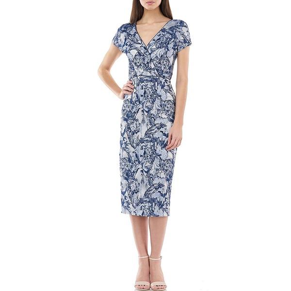 ジェイエスコレクションズ レディース ワンピース トップス Surplice V-Neck Printed Jacquard Sheath Dress Iris Navy