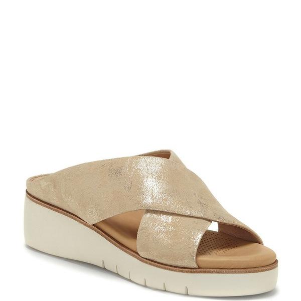 CCコルソコモ レディース サンダル シューズ Bilanka Metallic Leather Platform Wedge Slide Sandals Platinum