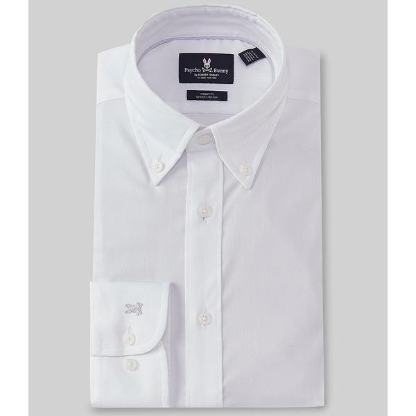 サイコバニー メンズ シャツ トップス Modern Fit Non-Iron Button-Down Collar Textured Solid Dress Shirt White