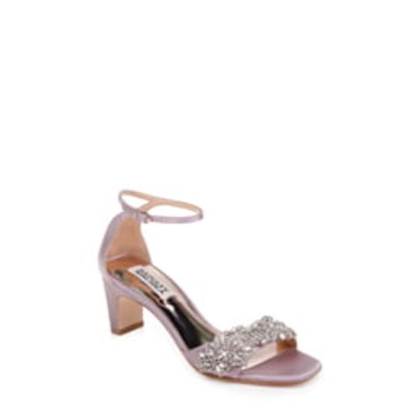 バッドグレイミッシカ レディース サンダル シューズ Badgley Mischka Alison Crystal Embellished Ankle Strap Sandal Soft Lilac Satin