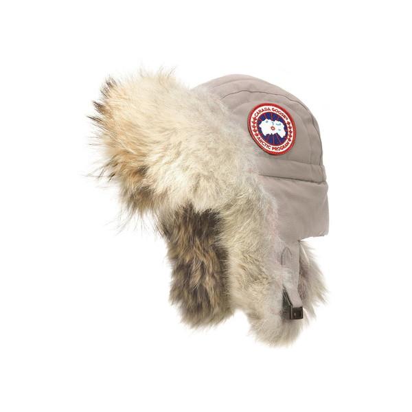 カナダグース レディース ヘアアクセサリー アクセサリー Aviator Hat with Genuine Coyote Fur Trim Limestone