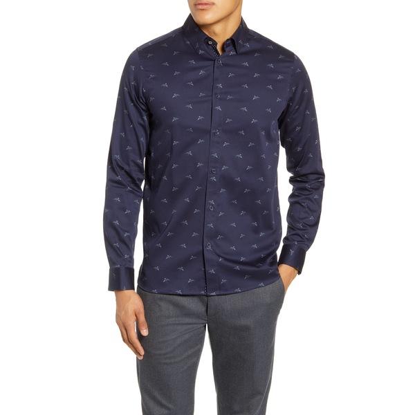 テッドベーカー メンズ シャツ トップス Skeep Slim Fit Bird Print Button-Up Shirt Navy