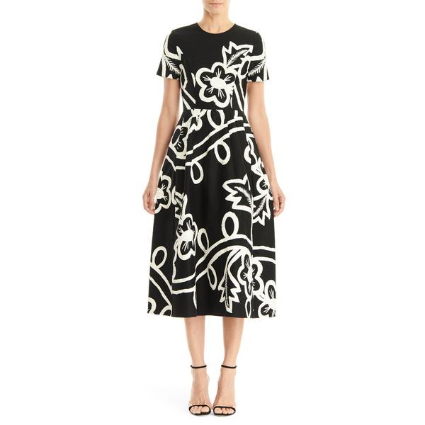 キャロライナヘレラ レディース ワンピース トップス Graphic Floral Short Sleeve Midi Dress Black/ White