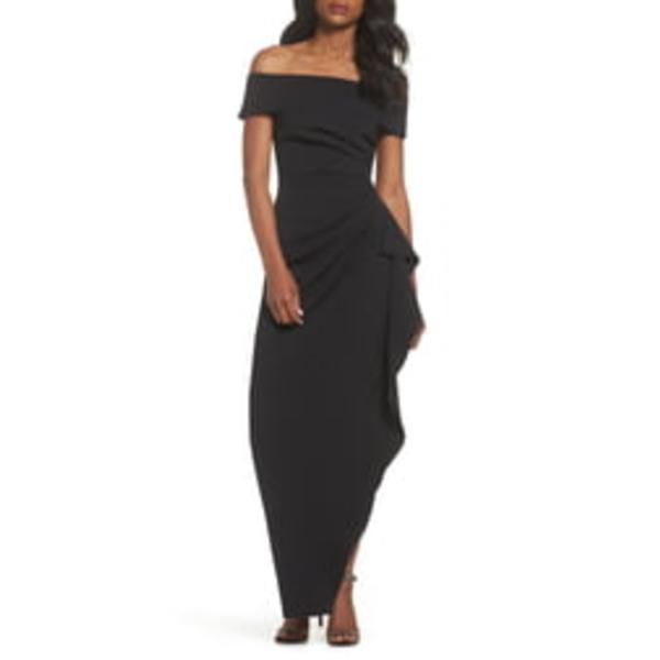 ヴィンスカムート レディース ワンピース トップス Off the Shoulder Crepe Column Gown Black