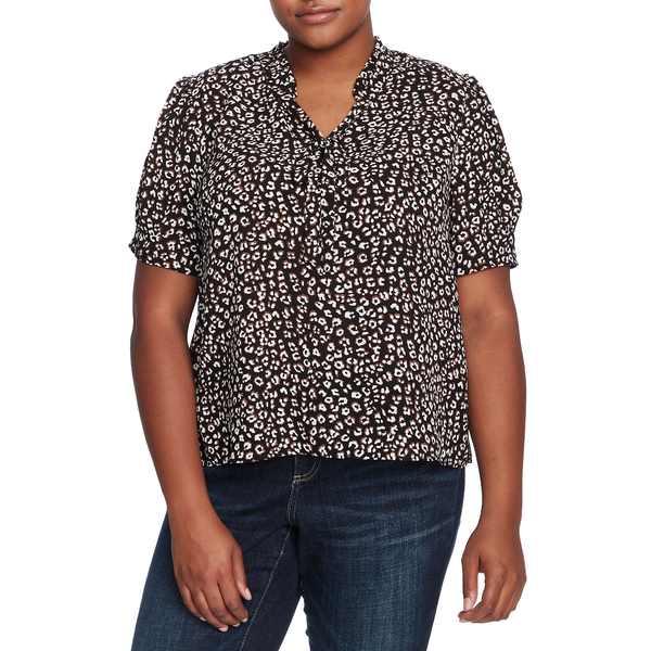 セセ レディース シャツ トップス Leopard Ruffle Tie Neck Blouse Rich Black