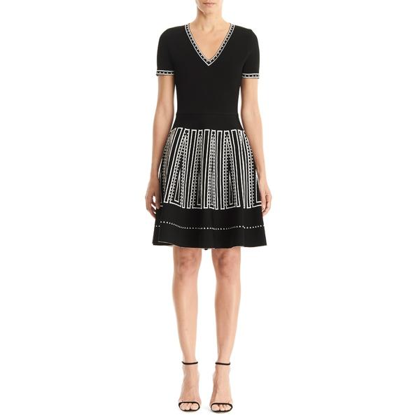 キャロライナヘレラ レディース ワンピース トップス Jacquard Fit & Flare Sweater Dress Black Multi