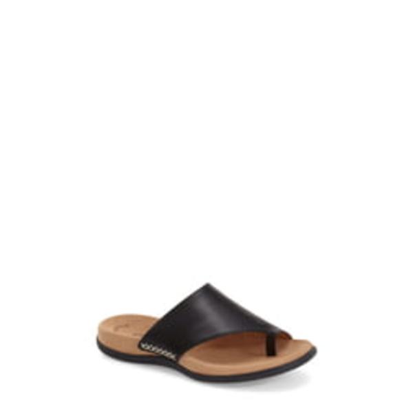 ガボール レディース サンダル シューズ Toe Loop Sandal Black Nubuck Leather