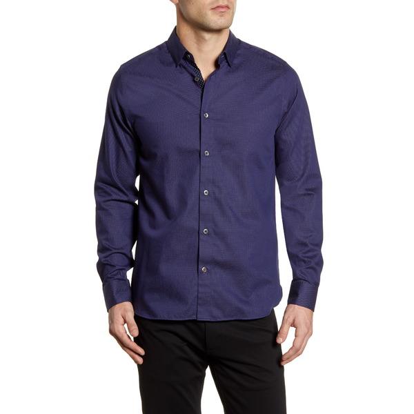 テッドベーカー メンズ シャツ トップス Whyme Slim Fit Dot Button-Up Shirt Navy