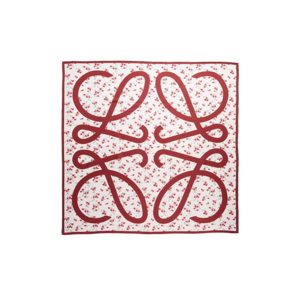 ロエベ レディース マフラー・ストール・スカーフ アクセサリー Anagram Floral Silk Scarf Red