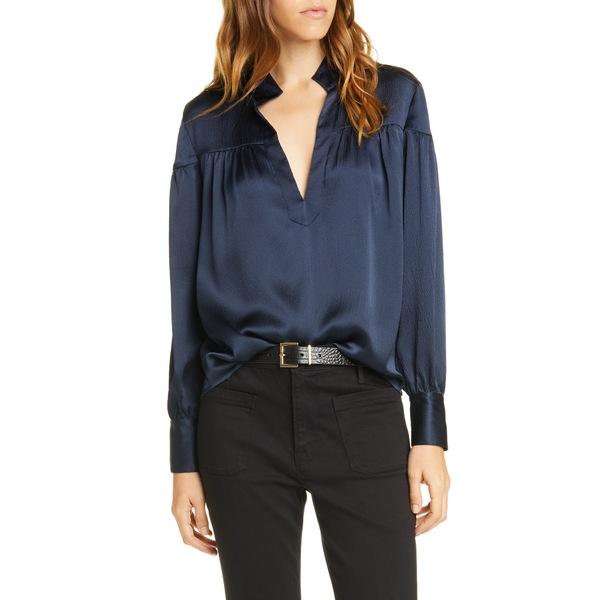 フレーム レディース シャツ トップス Shirred Hammered Silk Popover Shirt Navy Hammered Silk