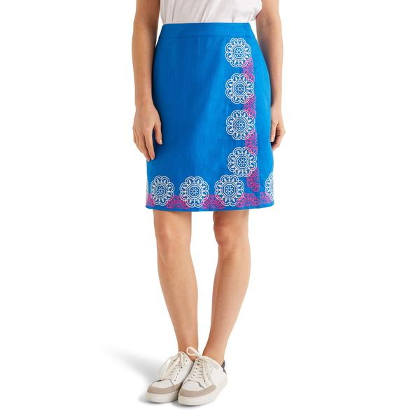 ボーデン レディース スカート ボトムス Anville Embroidered Wrap Skirt Bold Blue