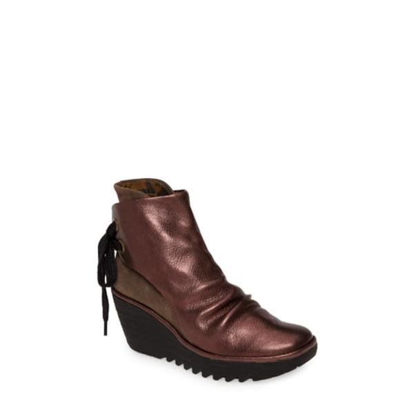 フライロンドン レディース ブーツ&レインブーツ シューズ 'Yama' Bootie Burgundy/ Grey Leather