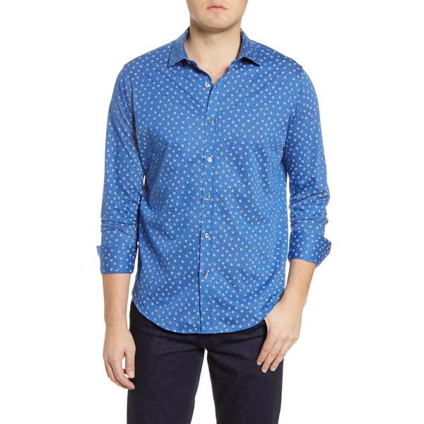 ブガッチ メンズ シャツ トップス Regular Fit Rose Print Knit Button-Up Shirt Sapphire