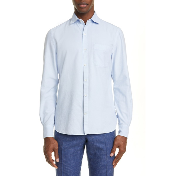 エイドス メンズ シャツ トップス Trim Fit Solid Button-Up Shirt Light Blue
