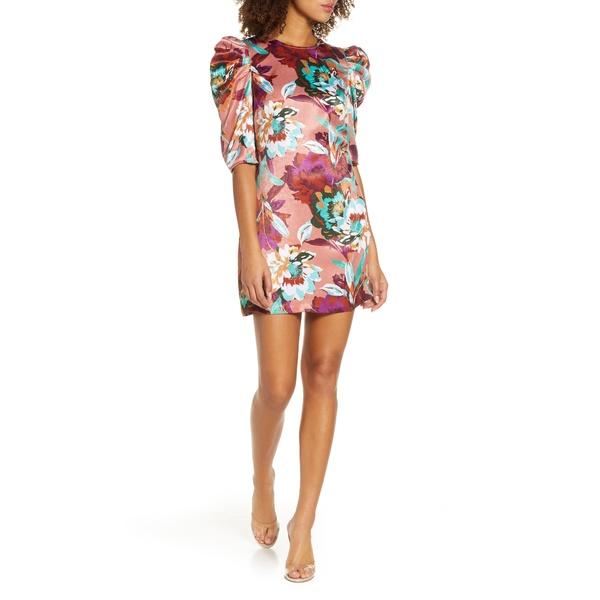 アリアンドジェイ レディース ワンピース トップス Young, Free & Single Floral Satin Minidress Brushstroke Floral