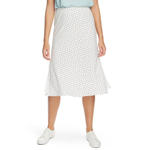 ワンステイト レディース スカート ボトムス Vintage Scatter Dot Side Slit Skirt Soft Ecru
