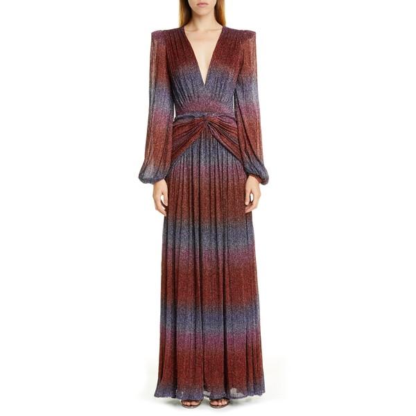 パットボー レディース ワンピース トップス Rainbow Wrap Long Sleeve Gown Multi