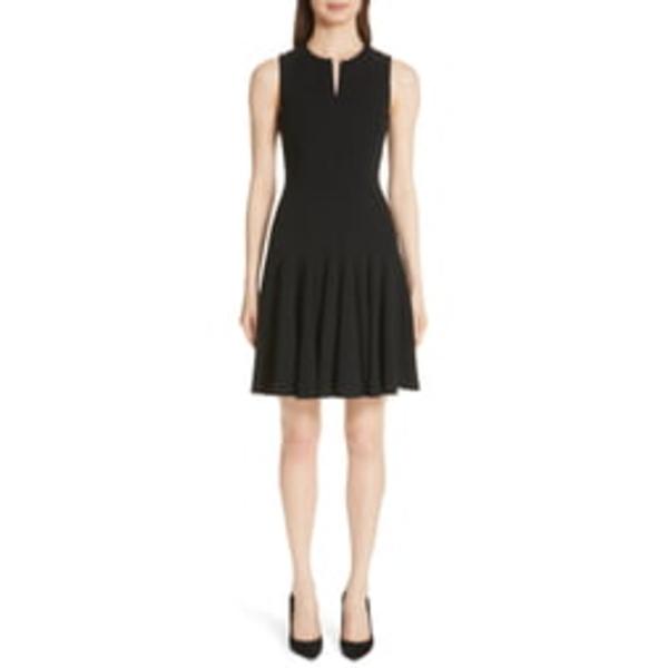 アクリス レディース ワンピース トップス Sleeveless Godet Pleat Dress Black
