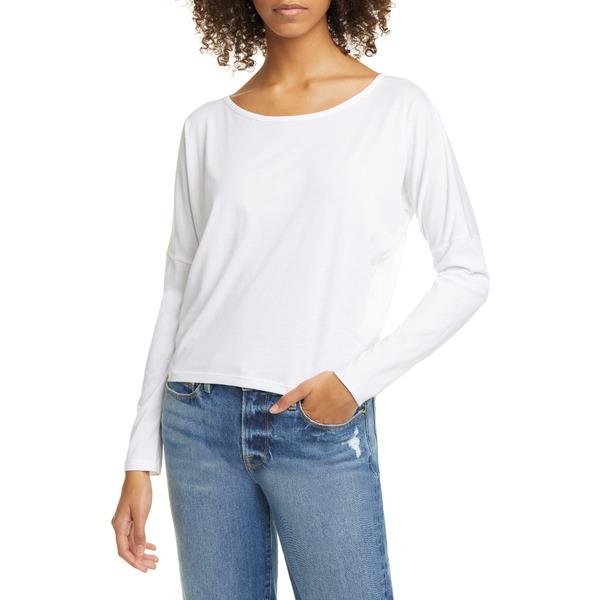 フレーム レディース Tシャツ トップス Long Sleeve Pima Cotton Tee Blanc