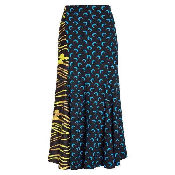 マリーン セル レディース スカート ボトムス Crescent Moon Print Paneled Midi Skirt Blue/ Amphibian Zebra