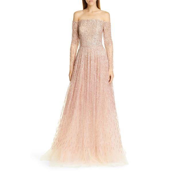 パメラ ローランド レディース ワンピース トップス Sequin & Crystal OmbrOff the Shoulder Gown Quartz