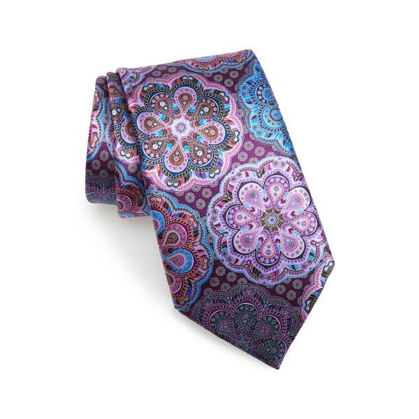 エルメネジルド・ゼニア メンズ ネクタイ アクセサリー Medallion Silk Tie Purple