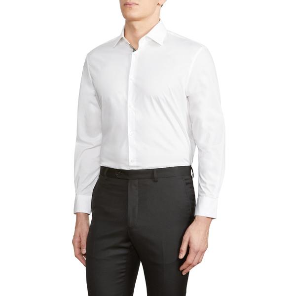 ジョンバルベイトス スター ユーエスエー メンズ シャツ トップス Trim Fit Stretch Solid Dress Shirt White