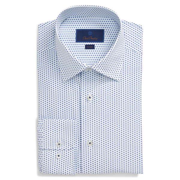 デイビッドドナヒュー メンズ シャツ トップス Trim Fit Dot Dress Shirt White/Navy