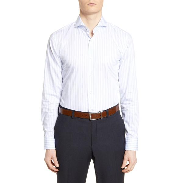 ボス メンズ シャツ トップス Slim Fit Soft Line Stripe Dress Shirt Light Blue