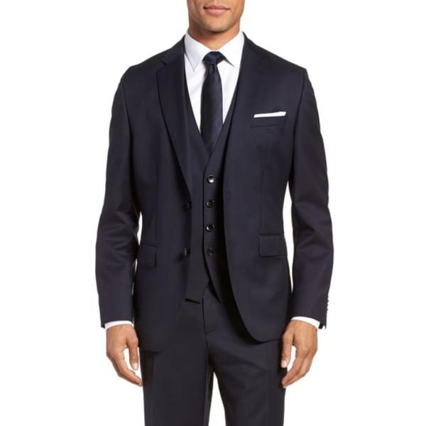 ボス メンズ ジャケット&ブルゾン アウター Johnstons CYL Classic Fit Solid Wool Sport Coat Dark Blue