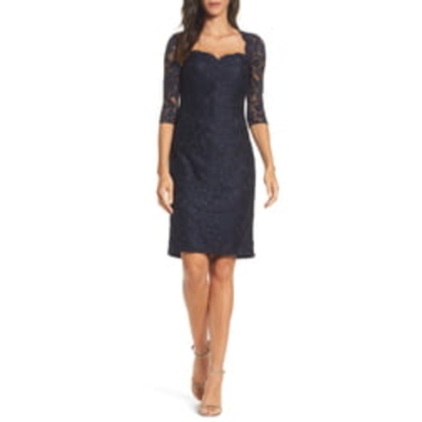 ラフェム レディース ワンピース トップス Lace Cocktail Dress Navy