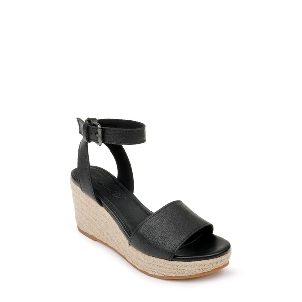 スプレンディット レディース サンダル シューズ Arianna Espadrille Wedge Sandal Black Leather