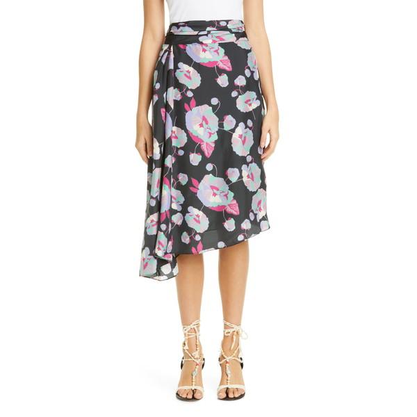 イザベル マラン レディース スカート ボトムス Floral Print Asymmetrical Silk Skirt Faded Night