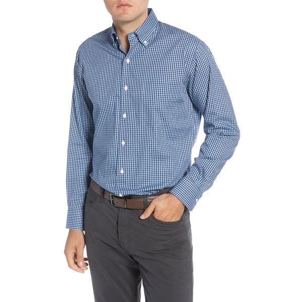 ピーター・ミラー メンズ シャツ トップス Regular Fit Stretch Cotton & Silk Check Button-Down Sport Shirt Night Sky