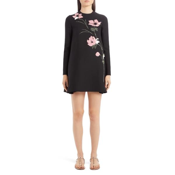 ヴァレンティノ レディース ワンピース トップス Beaded Floral Intarsia Long Sleeve Wool & Silk Minidress Nero
