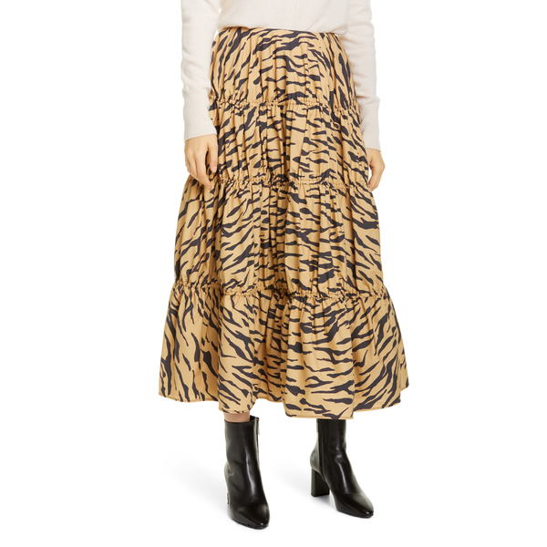 レジーナ・ピョウ レディース スカート ボトムス Eve Tiger Print Cotton Midi Skirt Tiger Print Beige